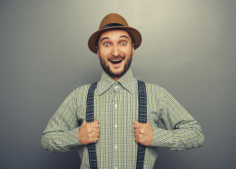 Excited Hipster Man Stock Photography