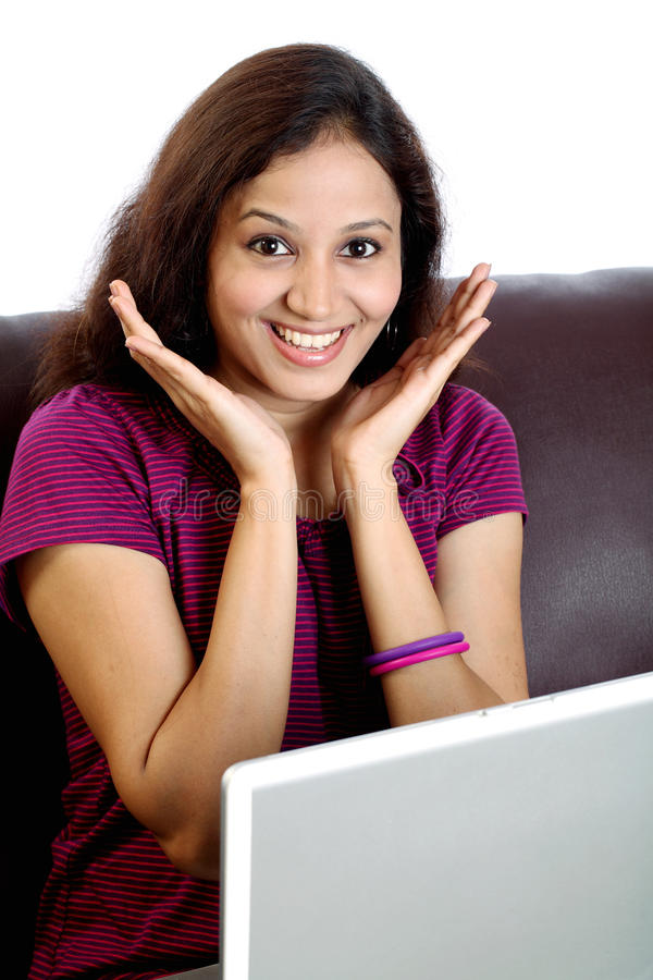 Excited Indian woman stock photography
