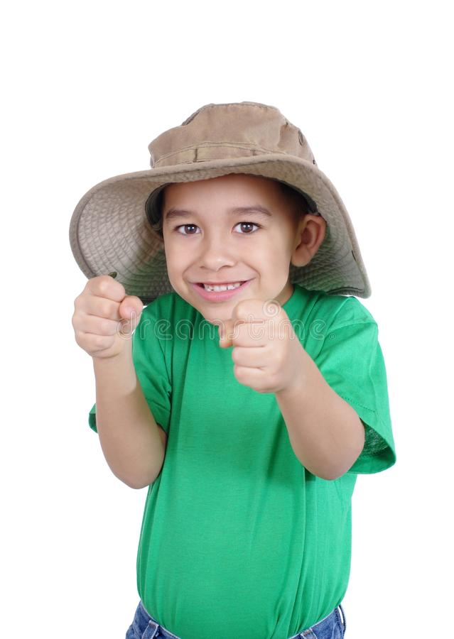 Excited kid with fists up royalty free stock image