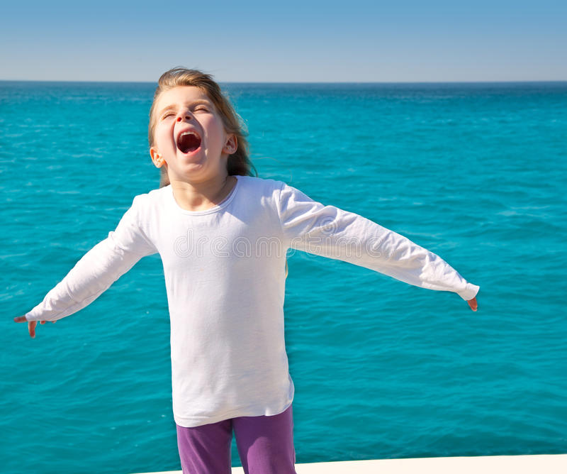 Download Excited Kid Girl Sailing In A Boat Open Arms Stock Photo - Image: 24779664