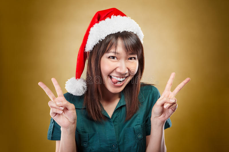 Download Excited Lady With Santa Hat Stock Image - Image: 22107257