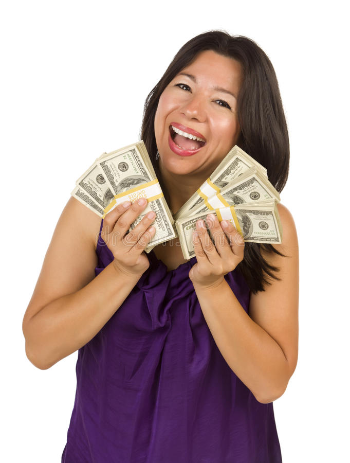 Excited Latino Woman Holding Hundreds of Dollars royalty free stock images