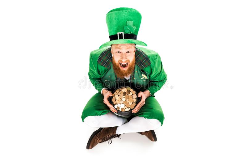 Download Excited Leprechaun In Green Suit Holding Pot Of Gold Stock Photo - Image of greeting  sc 1 th 183 & Excited Leprechaun In Green Suit Holding Pot Of Gold Stock Photo ...