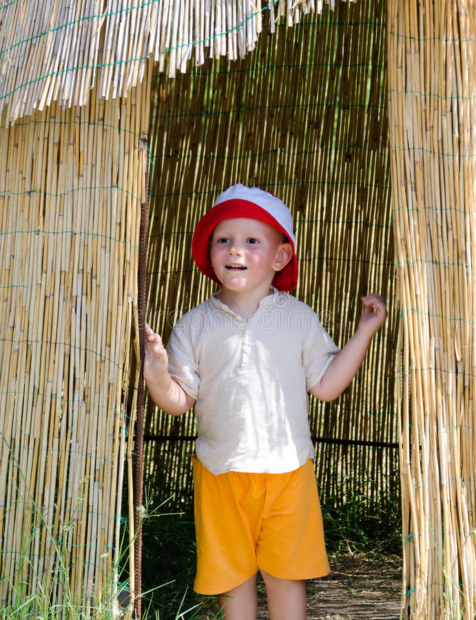 Download Excited Little Boy In A Reed Hut Stock Photo - Image: 27240770