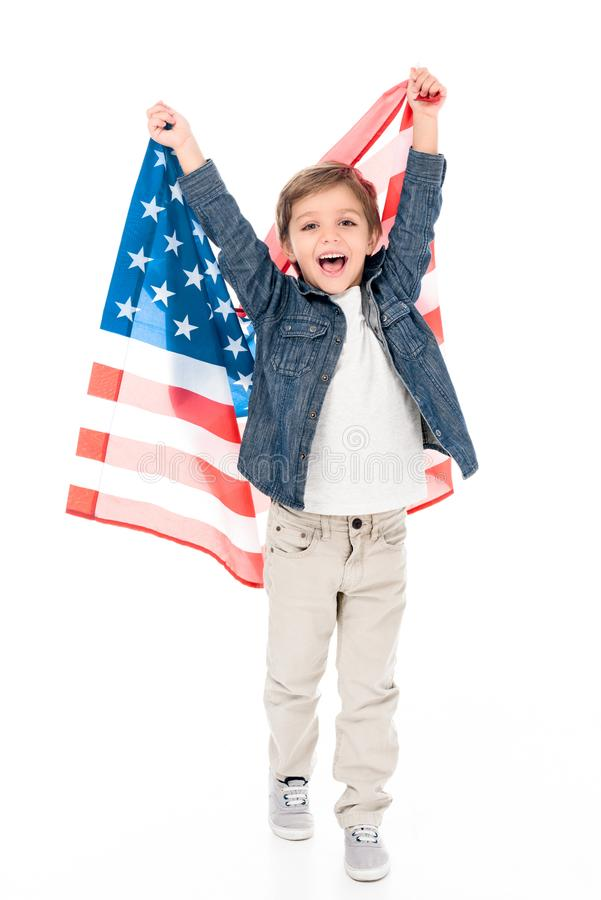 excited little boy with usa flag stock image