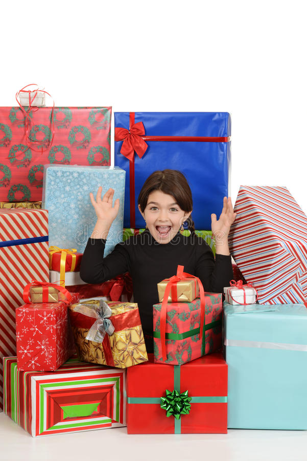 Download Excited Little Girl With Christmas Presents Stock Image - Image: 27804151