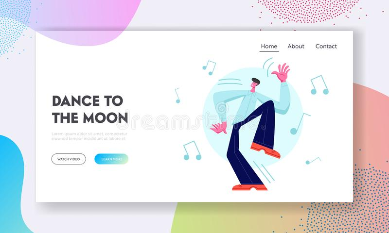 Excited Male Dancer Character Happily Spend Time Alone. Young Man Enjoying Dancing on Disco Party. Leisure, Dance Classes. Website Landing Page, Web Page vector illustration