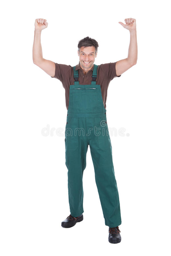 Excited Male Gardener. Portrait Of Excited Mature Male Gardener With Hand Raised royalty free stock images