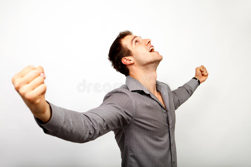 Excited man happy for his win royalty free stock image