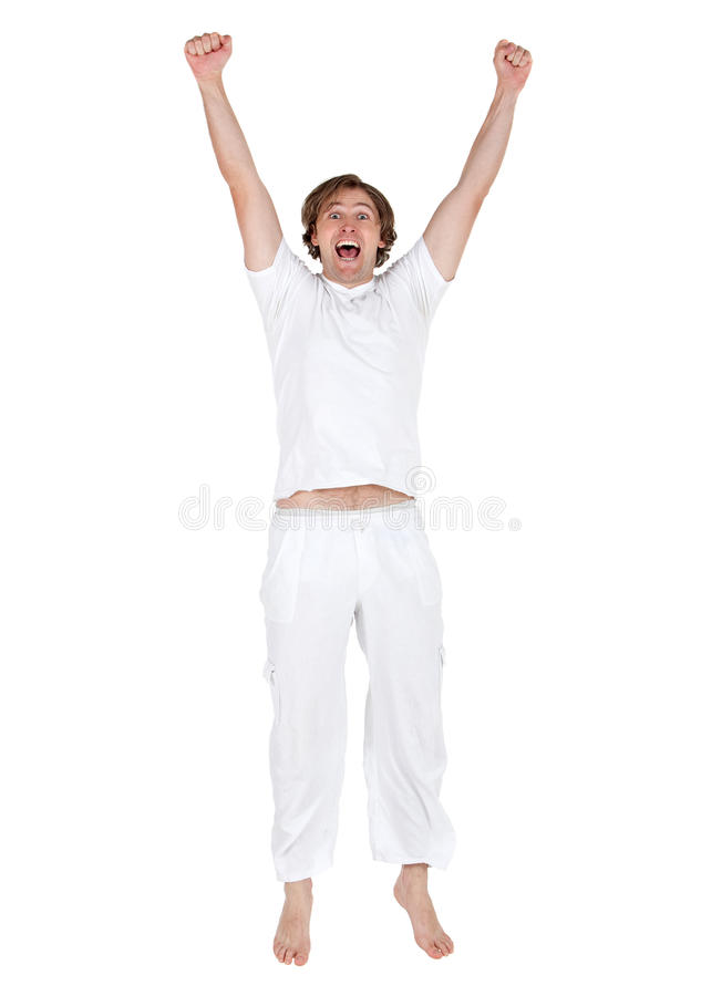 Download Excited man jumping stock photo. Image of cheerful, excited - 15026408