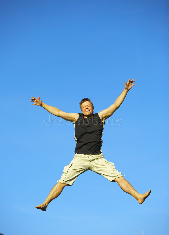Download Excited Man Jumping With Joy Stock Image - Image: 2569639