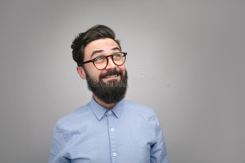 Excited man looking up in enlightenment royalty free stock photo