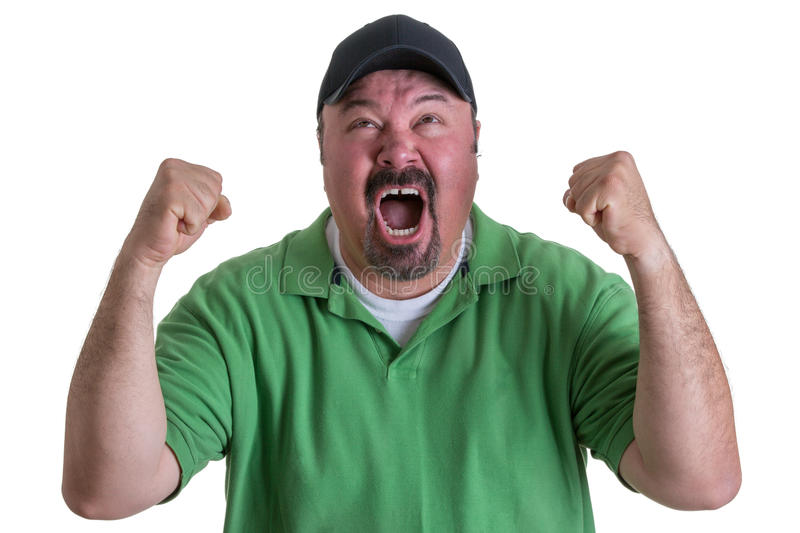 Excited Man Wearing Green Shirt Celebrating. Excited Overweight Man Wearing Green Shirt and Black Baseball Cap Celebrating, Pumping Fists and Cheering in Studio stock images