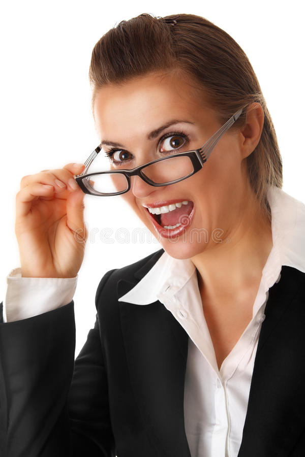 Excited modern business woman with glasses royalty free stock photo