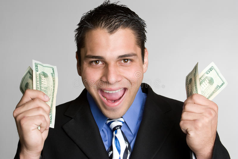 Excited Money Man stock photography