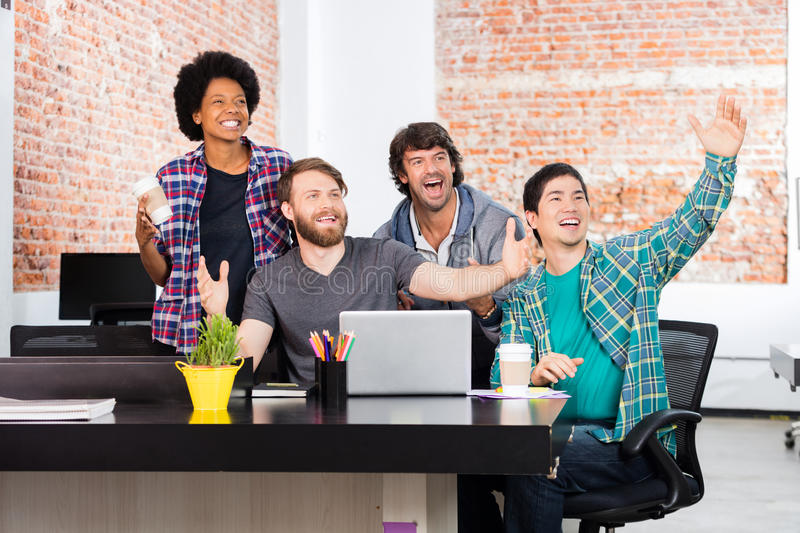 Excited people office diverse mix race group businesspeople surprised royalty free stock photos