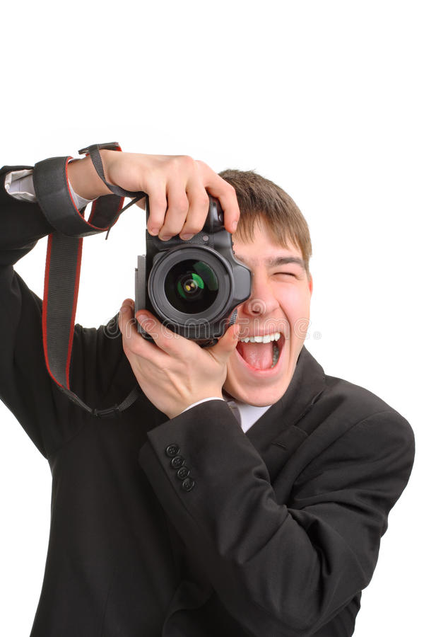 Excited photographer. Gets ready to take a photo royalty free stock photo