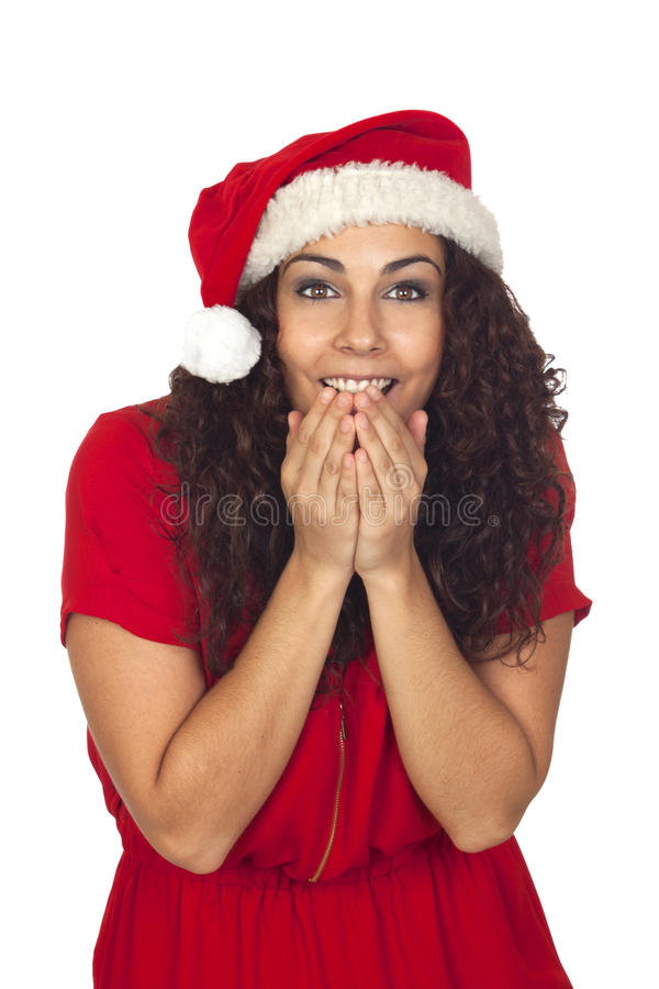 Download Excited Pretty Woman In Christmas Royalty Free Stock Images - Image: 28111779