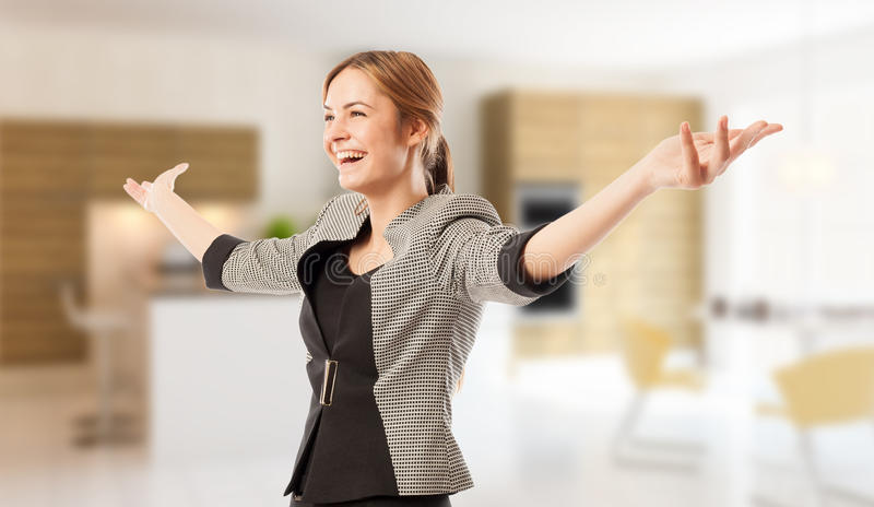 Excited real estate agent or broker with arms wide open royalty free stock photography