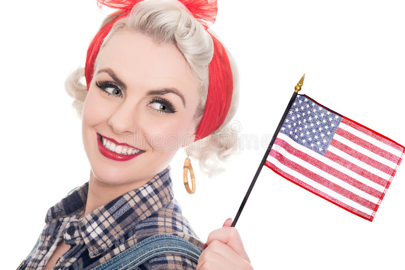 Excited retro woman celebrates 4th July, isolated on white. Beautiful retro woman celebrates 4th July, isolated on white royalty free stock images