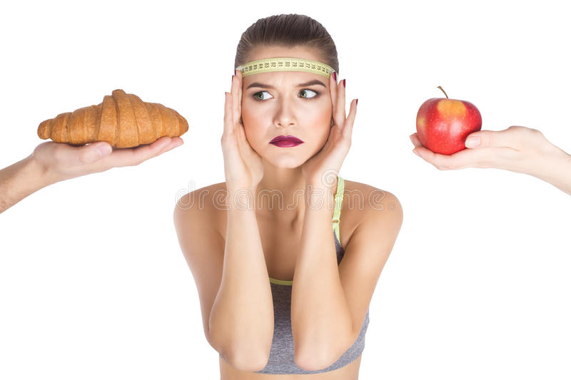 Excited scared woman diet choosing what to eat stock images