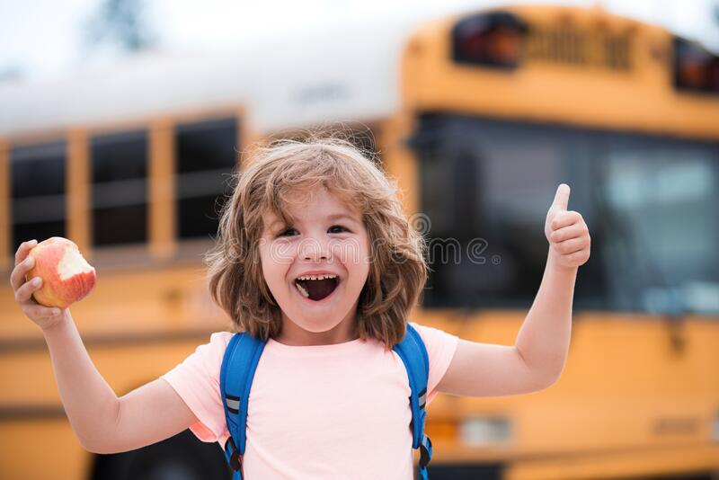 Excited school boy on school bus. Child with positive gesture with hand, thumbs up smiling and happy. royalty free stock photos