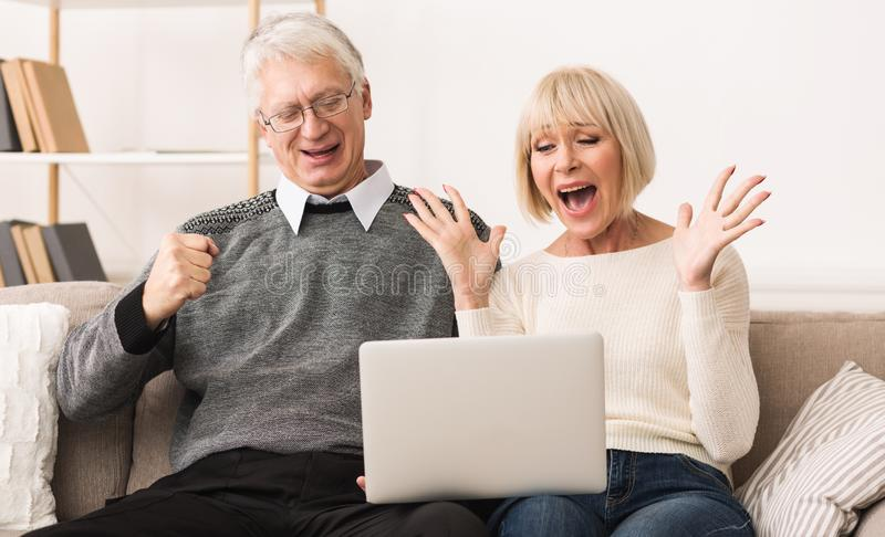 Excited senior couple celebrating victory, winning online auction bid royalty free stock image