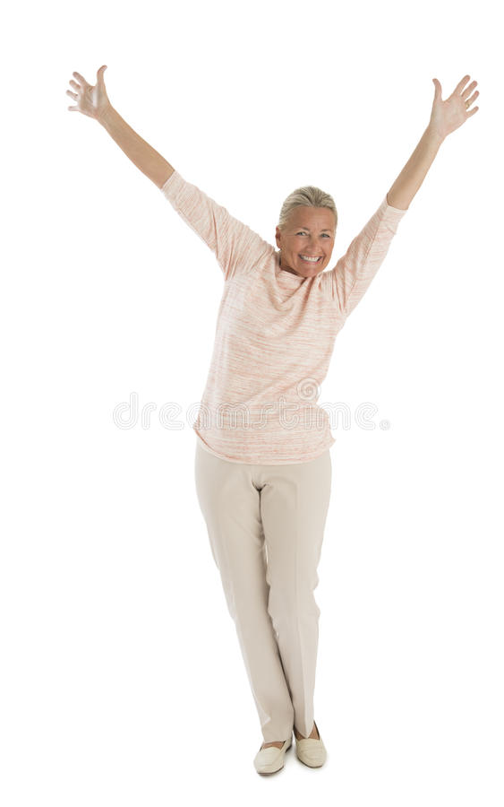 Download Excited Senior Woman With Hands Raised Stock Image - Image: 34512061
