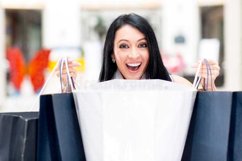 Download Excited shopping woman stock image. Image of girl, consumerism - 25082483