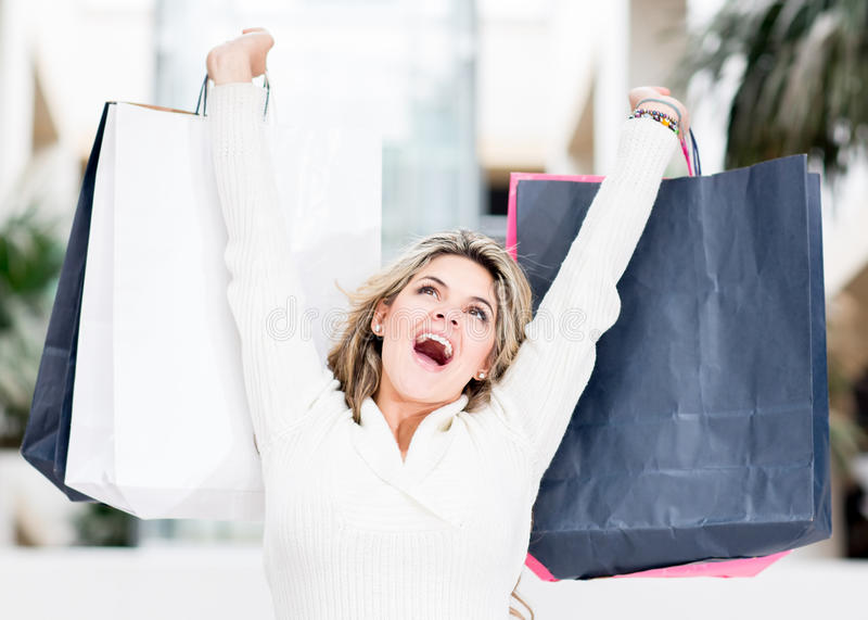 Download Excited shopping woman stock photo. Image of centre, girl - 25082990