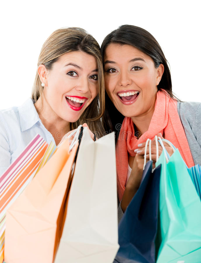 Excited shopping women