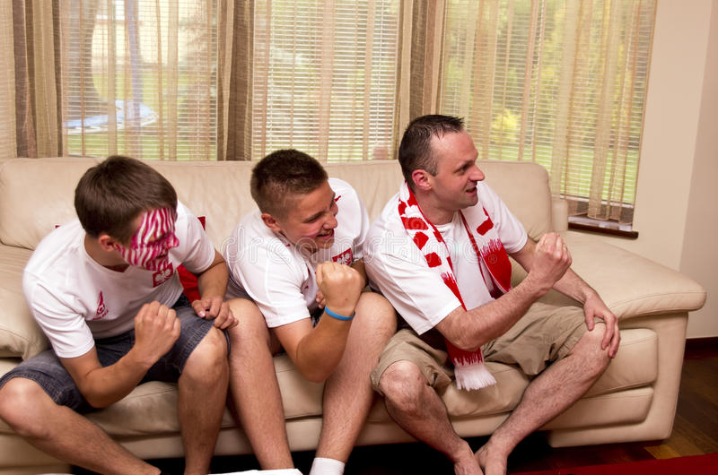 Download Excited sports fans stock photo. Image of couch, emotion - 30850318