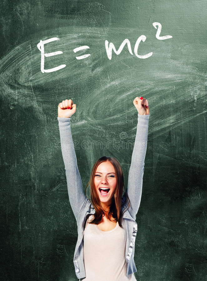 Download Excited student woman stock photo. Image of board, chalk - 33356180