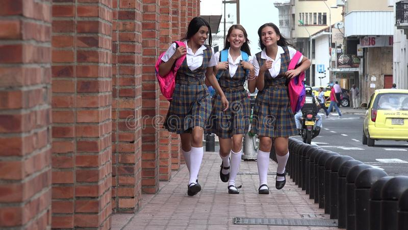 Excited Teen Female Students stock photography