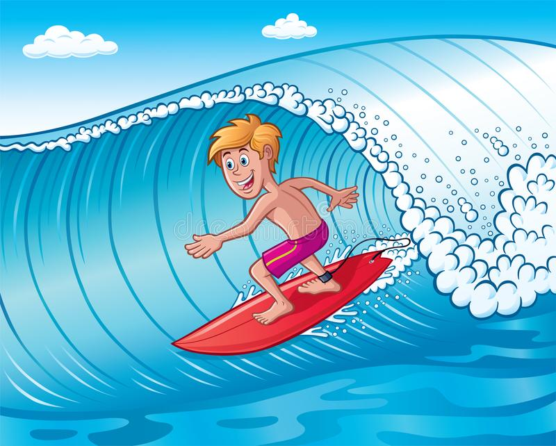 Excited Teenage Boy Surfing On A Wave stock photo