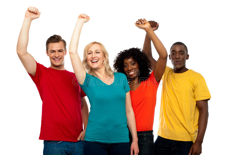 Download Excited Teenager Group Posing With Raised Arms Stock Photo - Image: 25954588