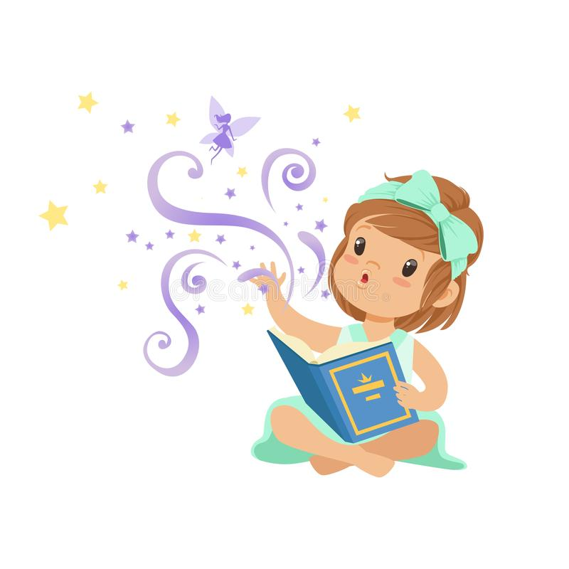 Excited toddler girl sitting with open magic book and stretching her hand to fairy. Cartoon kid character with great. Imagination. Isolated flat vector royalty free illustration