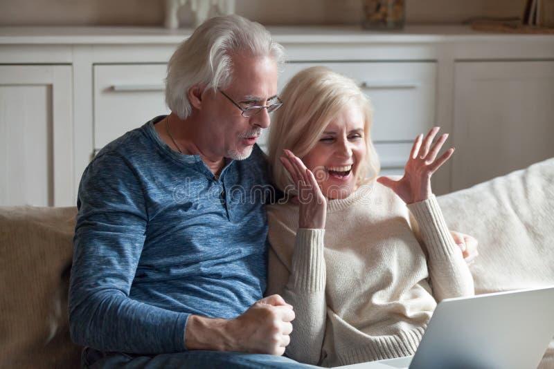 Excited vinnande lotteri för åldriga par direktanslutet på bärbara datorn royaltyfri fotografi