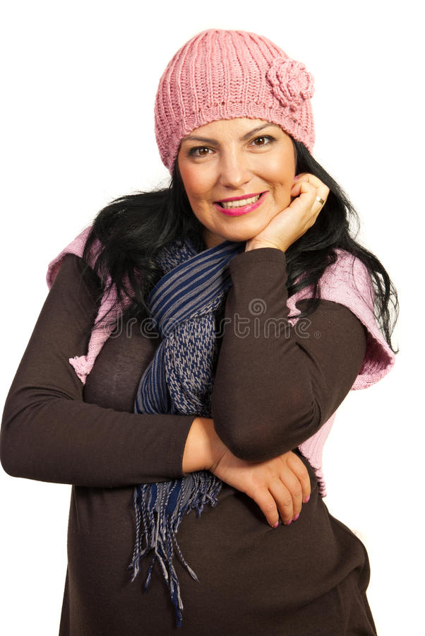 Download Excited winter woman stock image. Image of hold, looking - 27583689