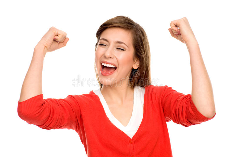 Download Excited Woman With Arms Raised Stock Photo - Image: 22232264