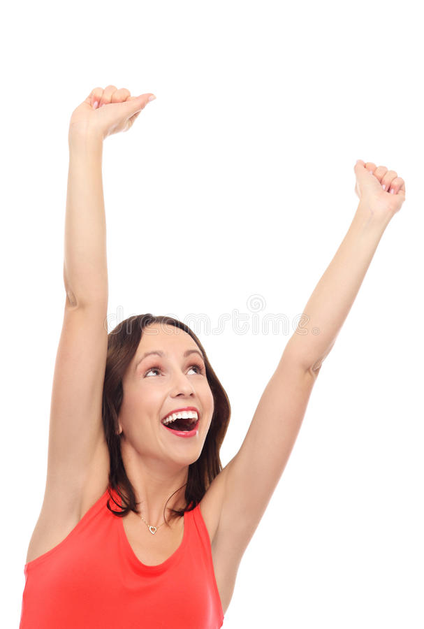 Excited Woman With Arms Raised Royalty Free Stock Photos
