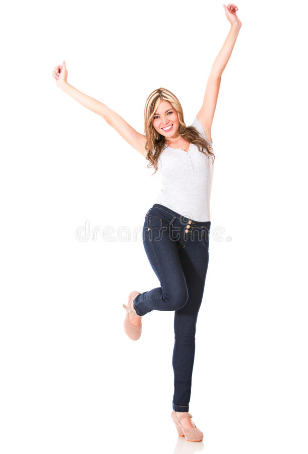Download Excited woman with arms up stock photo. Image of studio - 27664388