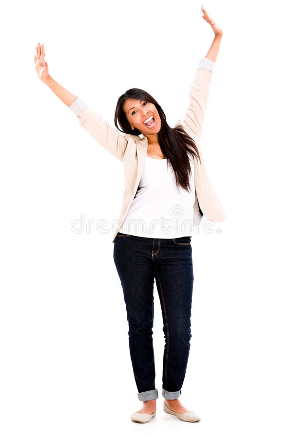 Download Excited woman with arms up stock image. Image of happy - 33259331