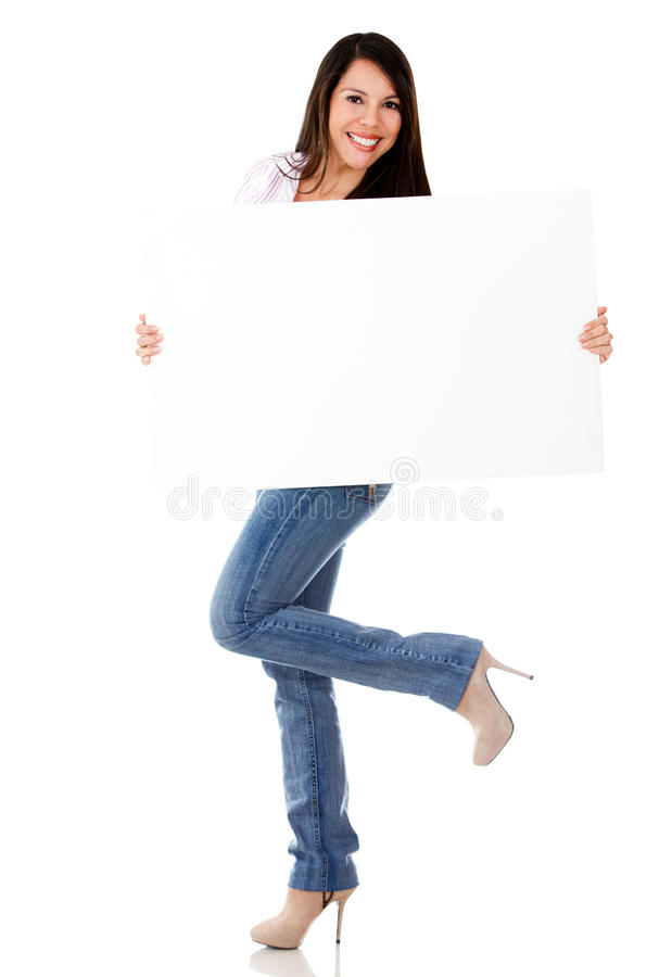 Excited woman with a banner ad