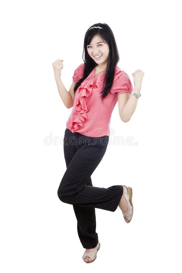 Excited woman celebrates her success royalty free stock photography
