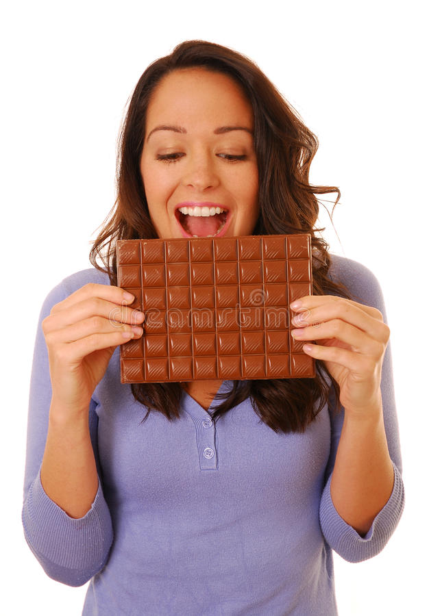 Download Excited Woman With Chocolate Stock Photo - Image: 13492228