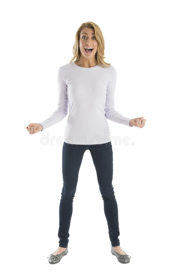 Download Excited Woman With Clenched Fists Shouting Stock Image - Image: 32278373