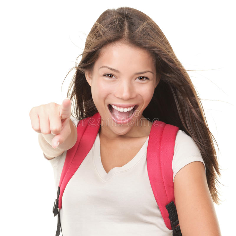 Excited woman college student stock photography