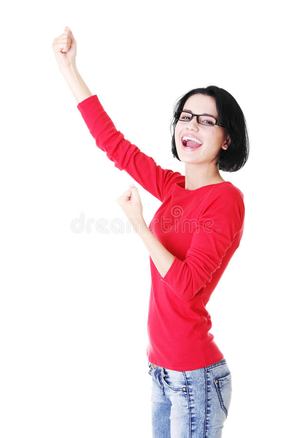 Download Excited Woman With Fists Up Stock Photo - Image: 27480752