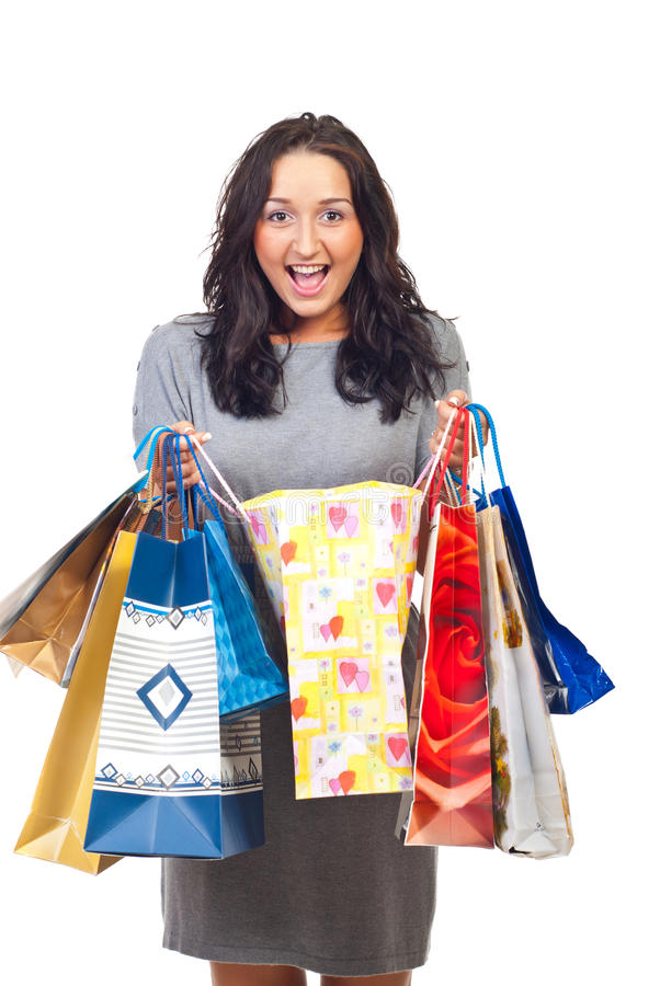 Excited woman of her shoppings royalty free stock photography